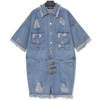 2017 new arrival Single-breasted Denim playsuits summer women loose hole metal button short sleeve cowboy Hair whisker playsuits