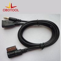 ObdTooL Auto 3.5mm Aux Input MP3 Cable with 5V Power Adapter Fits For VW MDI For Aud1