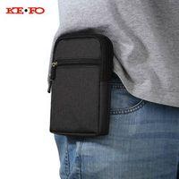 ke fo Universal Denim Leather Cell Phone Bag Belt Clip Pouch Waist Purse Case Cover