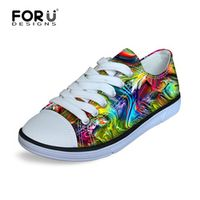 FORUDESIGNS Rainbow Color Printing Lightweight Flat Shoes Outdoor Sport Running
