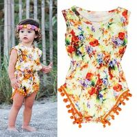 Newborn Baby Girls Floral Clothing Sleeveless Cotton Bodysuit Jumpsuit Sunsuit Outfit Clothes 2017 Summer 0-24M