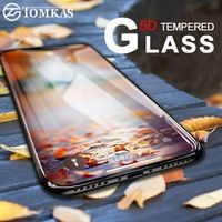 TOMKAS 5D Glass For iPhone X Film Curved Edge Full Cover Dust Proof 6 6S 7 8 Plus