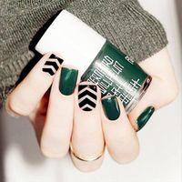 kiosse 24pcs/set style Dark green stripes full fake nail false nail Press on nails