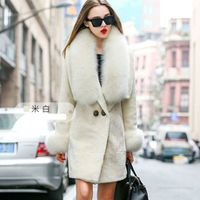 brand new 2016 woman genuine sheep shearing lamb wool luxury big fur collar coat fleece female jackets ivory off white red navy