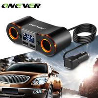 Onever ZNB02 1 to 2 Car Cigarette Lighter Socket Splitter with LCD Display Dual USB