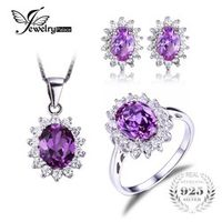 JewelryPalace Princess Diana Jewelry Set William Engagement Wedding Alexandrite Created Sapphire Jewelry 925 Sterling Silver