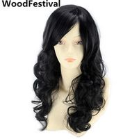 WoodFestival women synthetic wigs with bangs cosplay wavy black wig long 70 cm hair heat resistant high temperature fiber