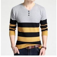 Male Slim V Neck Long Sleeve Stripes Cotton Winter Cashmere Sweaters Jumper Pullover Knitwear for Man