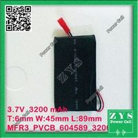 ZhiYuSun Safety Packing 2 pin Connector 3.7V lithium Polymer battery 604589 3500mah