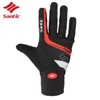 Santic Men Cycling Gloves Thermal Windproof Full Finger Cycling Glove Anti-slip Bike Bicycle Gloves for Man Woman Sport Gloves