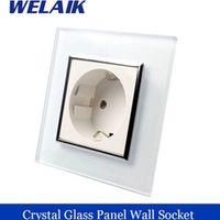 WELAIK EU Wall Socket European Standard Power socket Wall Outlet White Crystal Glass Panel AC 110~250V 16A  A18EW