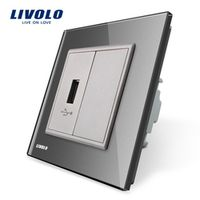 Livolo, Gray Crystal Glass Panel, One Gang USB Plug Socket / Wall Outlet VL-C791U-15