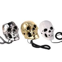 Newest telefone LED light Skull Skeleton Telephone Flashing Eyes Corded Land Line 1 Skull Head Home Desk Telephone 3 Color 1PCS