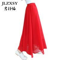 Wholesale Free shipping Women Ladies Girl High Waist Pleated  Chiffon Full long Maxi  puff Skirt