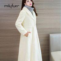 Milyfuer 2017 Real Rabbit Fur Coat Female Natural Fur Coat Winter Long Sleeves Long Section Real Fur Coat Lapel White Natural