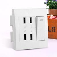 MVpower 5V 3.1A 4 Ports USB Wall Mounted Socket Intelligent Charger Outlet Plate