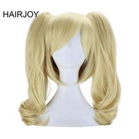 HAIRJOY 50cm Medium Blonde Wavy  Synthetic Women Party Costume Cosplay Wig 2 Removable Ponytail  Free Shipping