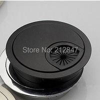 50mm Computer Desk Metal Grommets Wire Cable Hole Round Cover Black