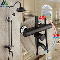 "rozin Luxury 8"" Black Rainfall Shower Mixers Thermostatic Control Shower Faucet"