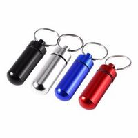 Portable Travel Pill Box WaterProof Mini Blue Aluminum Keychain Tablet Pill Storage Box Case Holder Drug Medicine Box Container