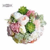 SESTHFAR Wedding Bouquets Succulent Plants Chic Silk