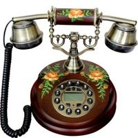 BINYEAE Vintage classical rustic solid wood antique telephone Redial/ Caller ID