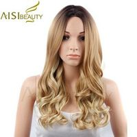 """AISI BEAUTY 26"""" Long Wavy Ombre Yellow Brown Color Synthetic Hair Wigs for Women"""