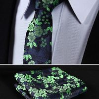 "TF2005G5 Green Navy Blue Floral 2.17"" 100%Silk Woven Slim Skinny Narrow Men Tie Necktie Handkerchief Pocket Square Suit Set"