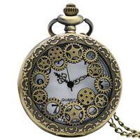YISUYA Antique Copper Steampunk Vintage Quartz Pocket Watch