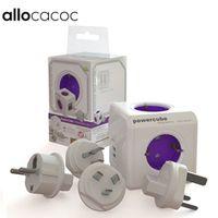 Allocacoc PowerCube Socket 4 Outlets 2 USB Ports Power Strip Extension Multi Socket EU / US / UK / AU Travel Plugs