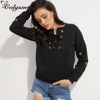Colysmo Winter Women Lace Up Sweatshirt Cotton Knitted