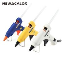 NEWACALOX 20W EU Plug Hot Melt Glue Gun with Free 1pc 7mm Glue Stick Industrial Mini Guns Thermo Electric Heat Temperature Tool