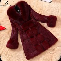 HONGZUO New Women Wine Faux Fur Long Coat With Fox Fur Collar Female Thick Warm Faux Rex Rabbit Fur Jacket Overcoat Parka PC125