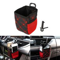 sikeo Air Vent Outlet Storage Bag Pen Card Tickets Phone Holder Container Red Grid