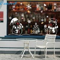 OUJING Snowman Removable Home Vinyl Window Wall Stickers