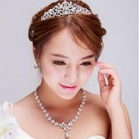 Free shipping Luxury Crystal Butterfly Bridal Wedding party Jewelry Set Earrings Pendant Necklace Crown Silver Plated 1set/lot