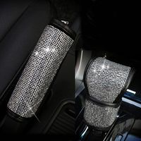 MUNIUREN 2Pcs/Set Crystal Rhinestone Handbrake Gear Shifter Knob Auto Shiny