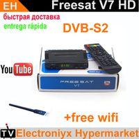 FREE SAT 1PCS Genuine Freesat V7 wifi with powervu biss key satellite receiver hd box