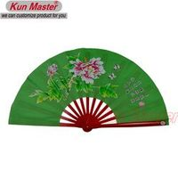 Bamboo Kung Fu Fighting Fan, Martial Arts Dance/Practice Performance Fan,Tai Chi Diagram, peony( (green)