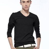 Men's fashion  autumn male slim V-neck long-sleeve T-shirt basic shirt Men tight-fitting low collar t shirt