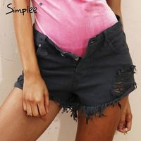 Simplee Apparel 50's Vintage ripped hole fringe blue women