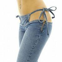 Women Low Rise Waist Nightclub Jeans Bandage Hollow