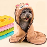 3 Size.Cartoon Animal Hooded Dog Cat Cleaning Necessary Pet Drying Towel.Super Absorbent Bathrobes Dog Bath Towel.Pet Supplies