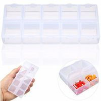 Double Sides 10 Slots Compartment Plastic Jewelry Storage Box Clear Tool Case Plastic Box Pills Drugs Container