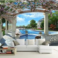 European Style Blue Sky Pool Photo Wall Papers Roll Living Room 3D Room Wallpapers Landscape Beautiful Background Papel Pintado