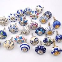 VINTAGE KNOBS 15 pcs  Blue and white hand painted ceramic pumpkin knobs cabinet drawer handles pulls