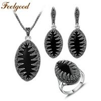 Feelgood Jewellery Vintage Silver Color Fashion Jewelry Set Black Crystal Marquise Pendant Necklace Earring Ring Sets Women Gift