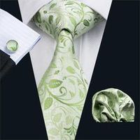 FA-1162 Gents Necktie Green Floral 100% Silk Jacquard Tie Hanky Cufflinks Set Business Wedding Party Ties For Men Free Shipping
