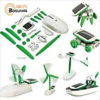 Boguang 6 in 1 solar panel green toys animal dog cat car boat fan science education