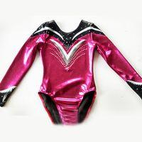 Hot sale! women long sleeve gymnastic leotard wear mystique fabric rhinestone leotard